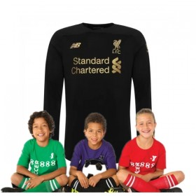 Kid's Liverpool Home Long Sleeve Goalkeeper Shirt 19/20(Black)
