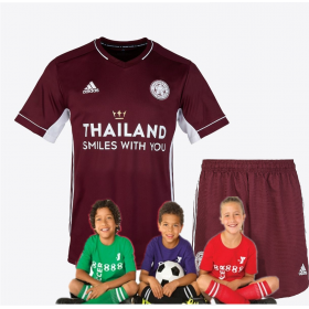 kid's Leicester City Maroon Away Jersey 20/21 (Customizable)