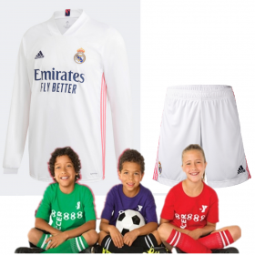 Kid's Real Madrid Home Long sleeve Suit 20/21 (Customizable)